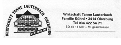 Wirtschaft Tanne Lauterbach